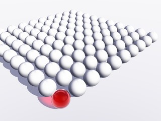 Conceptual crowd of spheres with one red glass sphere