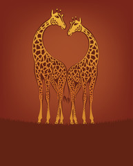 valentine day postcard with giraffes, vector
