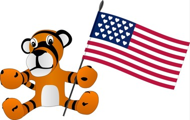 toy tiger cub with flag