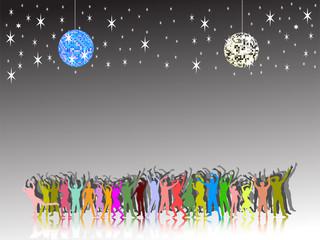 Bunte Menschengruppe mit  blauer Discokugel