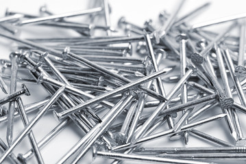 Pile of nails. Shallow depth of field.