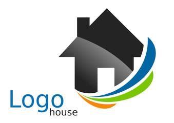 Logo maison courbes bleu orange vert gris
