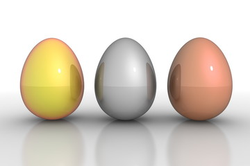 Three Metallic Eggs in a Line - Gold, Silver, Bronze