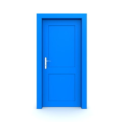 Closed Single Blue Door