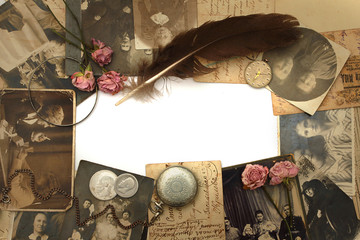 Vintage background with old watch, cards, photo