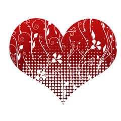 red heart with white shapes inside