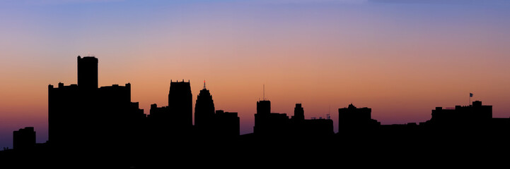 Panoramic Silhouette of the Detroit Skyline