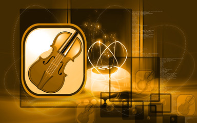 Illustration of a violin in yellow background