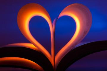 Open book in heart shape
