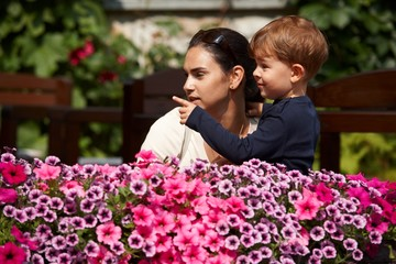 Child explaining to mother outdoor