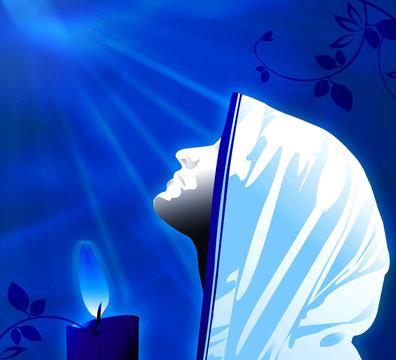 praying in blue light