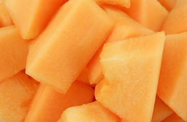 Freshly cut cantaloupe melon