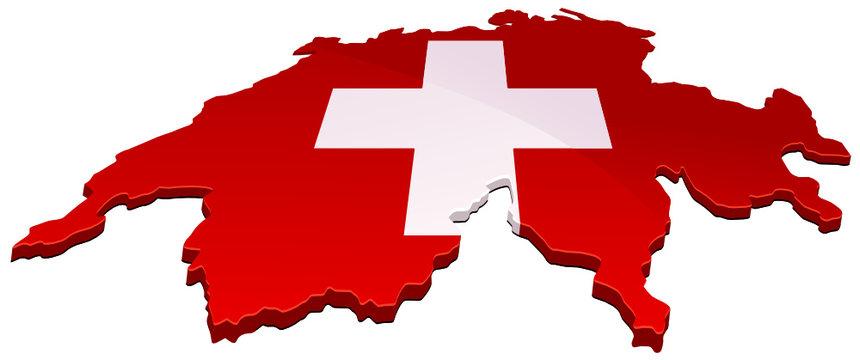 Carte de Suisse 3D croix rouge (détouré)