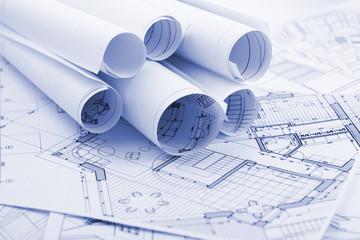 rolls of architecture plans - blueprints