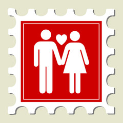 Loving Couple Sign Stamp