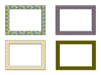Collection decorative photo frameworks.