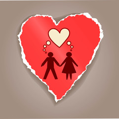 Paper heart with man and woman silhouette