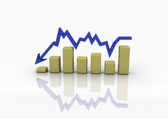 business graph down blue