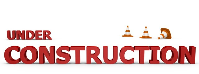 Under Construction sign with traffic cones - 3d image