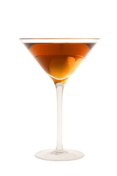 Rob Roy cocktail or Manhatten cocktail on a white background