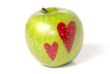 Apple with two hearts
