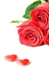Red envelope and red rose