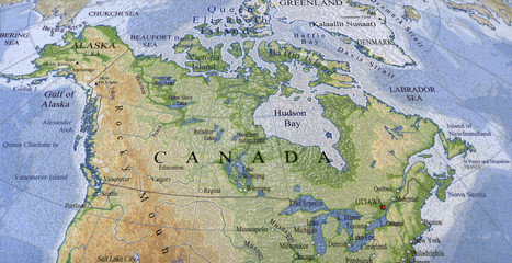 canada, usa map, paper texture
