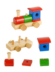 Wooden toy train with all elements
