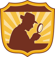 detective inspector with magnifying glass