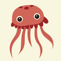 vector cute pink jellyfish