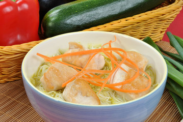 asian style noode chicken soup with carrot