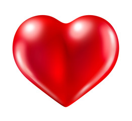 heart red love symbol of valentine Isolated on white
