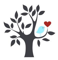 Vector bird and tree