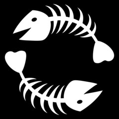 the vector two abstract fish skeleton