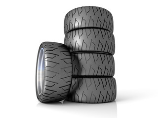 New wheels, isolated on white