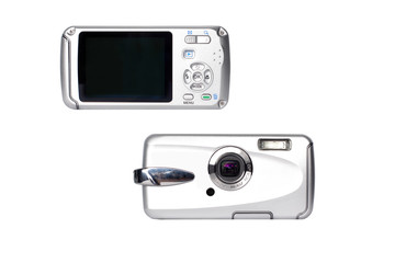 Compact digital camera front and rear view