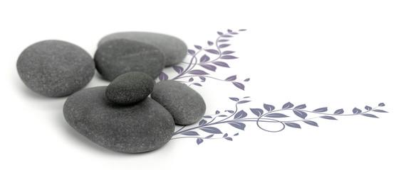image de décoration zen, galets et floral design fond blanc