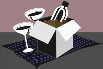 Illustration of basket with drinks and wine glass