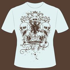 T-Shirt Druck Skull Wappen