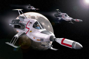 Wall Mural - spaceship and moon