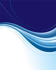 Blue abstract background with wavy lines