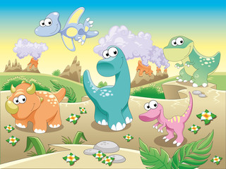 Fotorolgordijn Dinosaurs Dinosaurs with background.Cartoon and vector illustration.