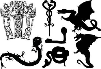 black heraldic reptiles