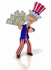 Uncle Sam holding money giving thumbs up