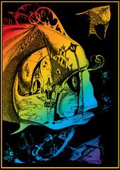 Fairy-tale fish. Vector art-illustration.