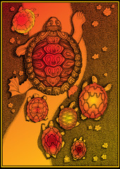 Turtles. Teacher and his students. Vector art-illustration.