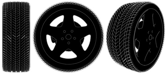 Car Wheel Tire Vector 03