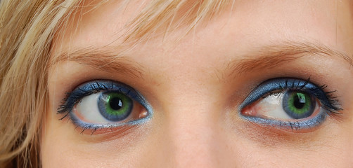 Green and blue eyes.