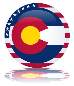 Colorado State Round Flag Button (USA America Vector Reflection)