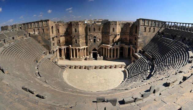 the biggest roman amphitheater in Bosra, Syria